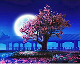 Diy Oil Painting Paint By Numbers Kit For Adults,Moon And Cherry Blossom Tree Diy Oil Painting 16×20 Inch Canvas For Kids Child Adults -Dz0451-Beginner Christmas Presentwith Full Acrylic Paint Set And