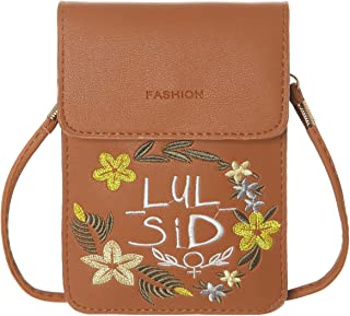 Haytijoe Embroidery Patterns Small Crossbody Shoulder Bag Cellphone Purse Pouch Smartphone Wallet For Women Girls