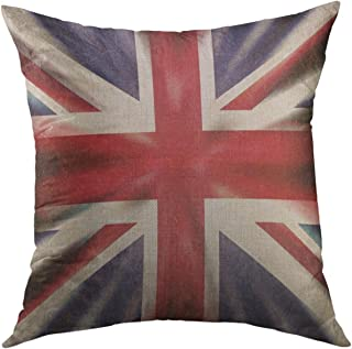 ee1d3021f1 Mugod Pillow Cover White London British Union Jack Flag in Grunge Style  Retro Britain Home Decorative