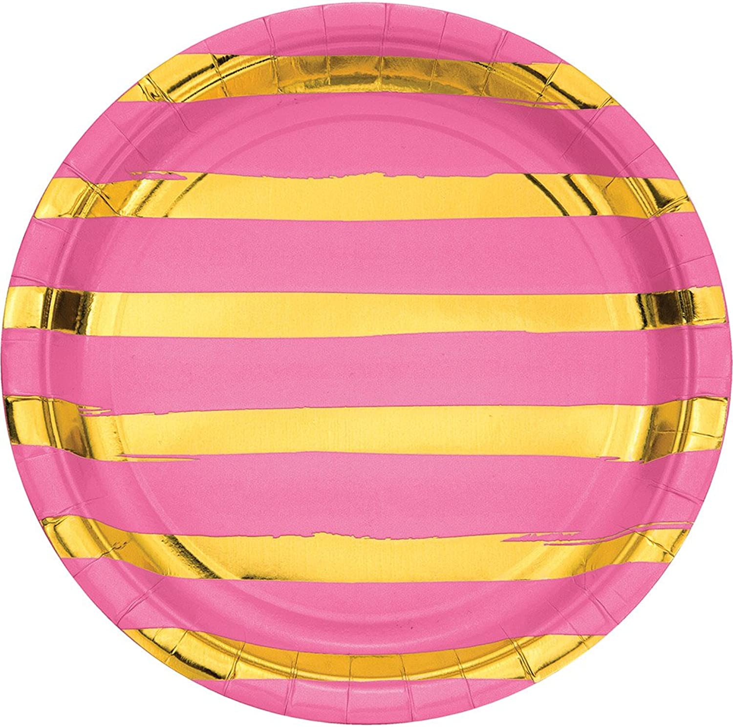 Creative Congreening 329953 Touch of color 96-Count Dinner Paper Plates, Touch Of color Candy Pink Foil
