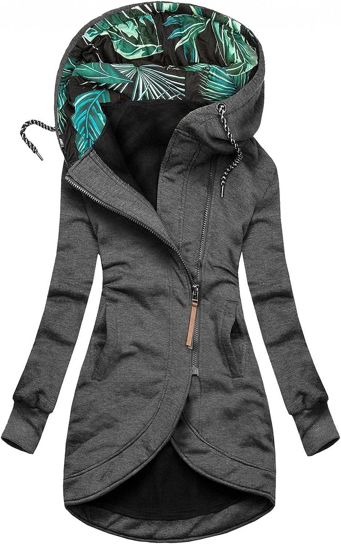 ManxiVoo Women Full Zip Sweatshirt Jacket Drawstring Hooded Hoodie Coat Irregular High Low Hem Jackets Coats
