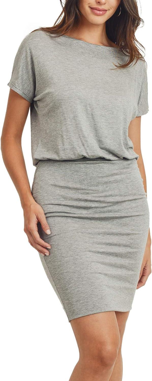 LaClef Womens Casual Short Sleeve Boat Neck Mini Dress