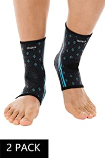 Exrebon 2 Pack Ankle Brace Compression Support Sleeve Four-Sides High Elastic Ankle Support for Men & Women