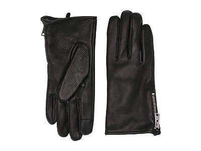 AllSaints Zipper Deerskin Leather Gloves (Black) Extreme Cold Weather Gloves