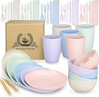 Ensemble de Vaisselle en Paille de Blé 40 Pièces, Service de Table Moderne, bol, Plate, Tasses, Vaisselle Pour Pique-Niqu...