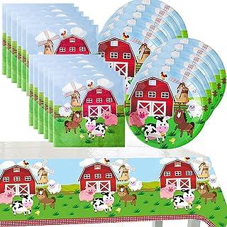 Farm Animals Birthday Party Supplies Decorations Tableware Set - Farm Cake Plates,Napkins,Tablecloth for kid Birthday and ...