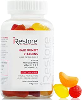 iRestore Hair Vitamins Gummies - Biotin Gummies, Vegan Hair Gummies for Growth - Hair Skin and Nails Gummies with Vitamin C & E, Coconut Oil, Turmeric - Sugar Bear Hair Vitamins Gummy for Men & Women