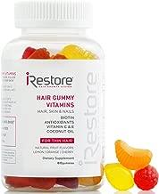 iRestore Hair Vitamins Gummies - Biotin Gummies, Vegan Hair Gummies for Growth - Hair Skin and Nails Gummies with Vitamin C & E, Coconut Oil, Turmeric - Sugar Bear Hair Vitamins Gummy for Men & Women