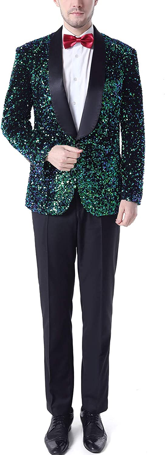 Men's Shawl Lapel Sequined Prom Suits One Button Blazer Pants Wedding Tuxedos Dinner Suits