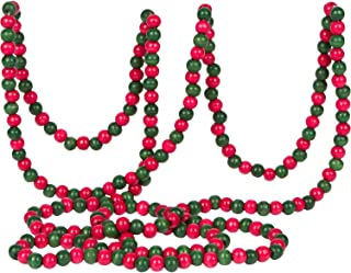 Vintage Style Red and Green Wood Bead Garland Christmas Tree Holiday Decoration, 9 Feet
