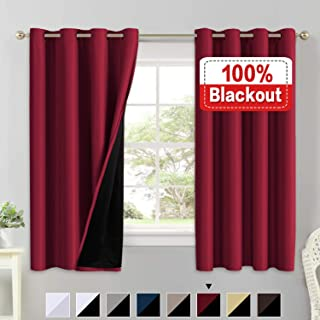100% Blackout Curtains for Living Room Faux Silk Double Layer Curtains Room Darkening Thermal Insulated Energy Saving Grommet Window Treatment Panel - 2 Panels (Cardinal, 52 by 63-inch)
