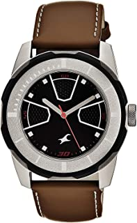 Fastrack Men's Black Dial Leather Band Watch - 3099SL04