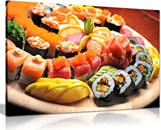Sushi Sashimi Japanese Restaurant Canvas Wall Art Picture Print (30x20in)