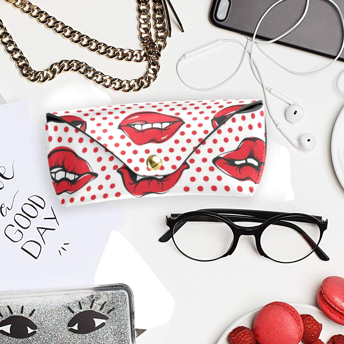 gift Portable PU Leather Mouth Art Woman Lips Sunglasses Case Eyeglasses Pouch Goggles Bag Multiuse