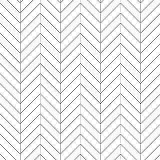 Black and White Herringbone Wallpaper, PVC Background Wallpaper for Shop, Livingroom Bedroom Kitchen Bathroom, Scandinavian Chevron Wallpaper (Unpasted) Roll, 20.8 inch x 31.17 Feet, 1 Roll Pack
