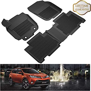 KIWI MASTER Floor Mats Compatible for 2013-2018 Toyota RAV4 All Weather 1st & 2nd Black Front Rear Row Liners Full Set (Non-Hybrid or Electric)