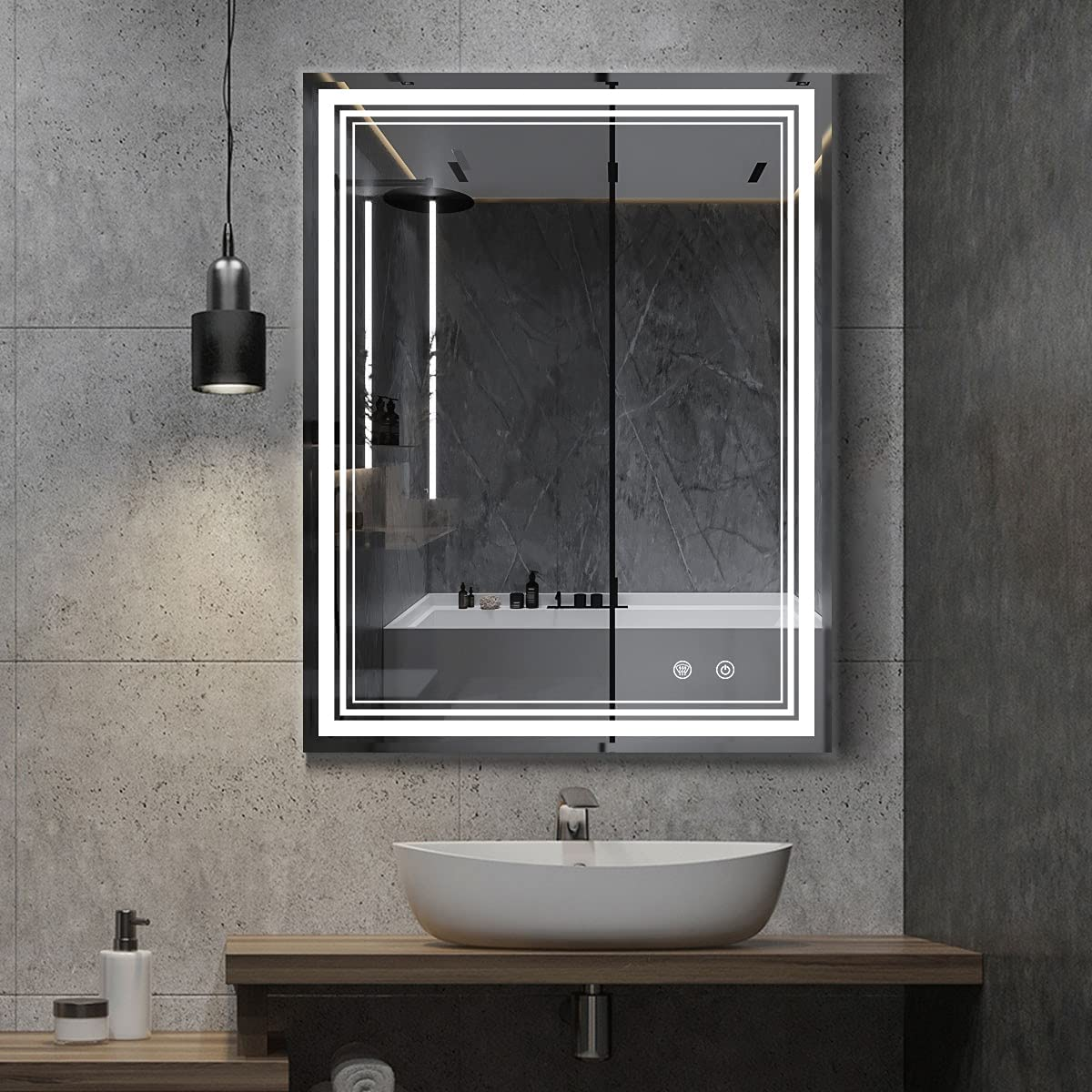 IOWVOE Baltimore Mall 36 x 28 Inch LED Mirr Vanity Bathroom Mirror Mounted Max 90% OFF Wall