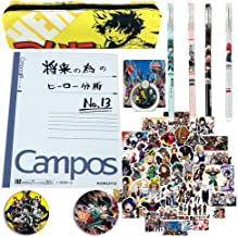 My Hero Academia Notebook Set Bnha Merchandise for Anime Fans 1 Notebook 1 Pencil Case 4 Pens 50 Stickers 2 Button Pins 1 Phone Ring