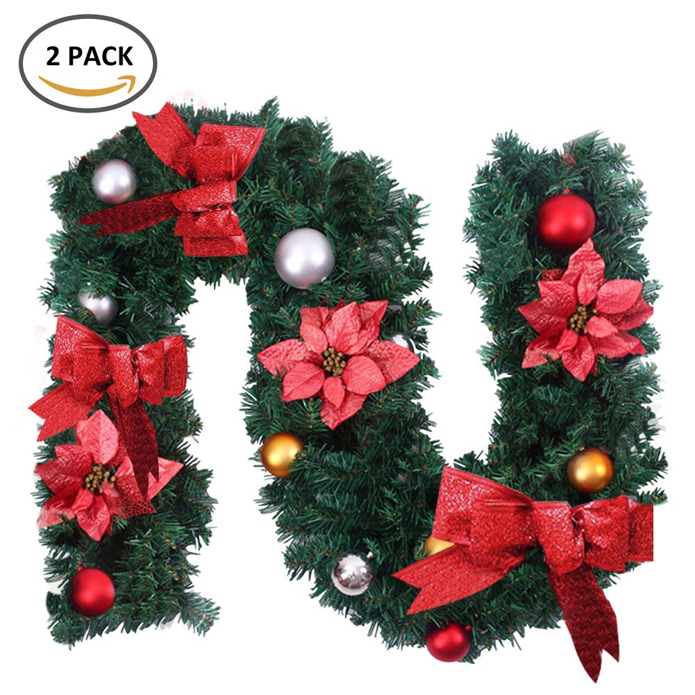 2 x 6 ft/1.8 M Navidad guirnaldas para chimeneas escaleras árbol de Navidad decoración de Navidad corona de Navidad guirnalda con flores y arco (bayas Pinecones: Amazon.es: Hogar