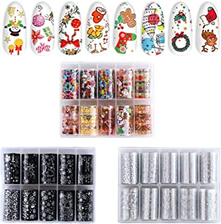 BKpearl 30 Rolls Christmas Nail Art Foil Nail Decals Transfer Nail Stickers Foil Paper for Nail Art, Resin, Crafting Projects
