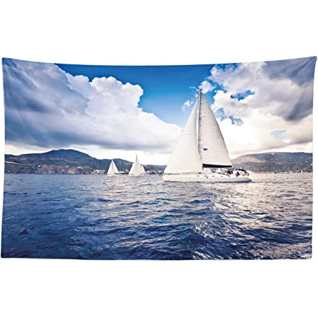 Ambesonne Nautical Tapestry Sailing Boat And Sails On Sea Waves Cloudy Sky Adventure Photo Print Fabric Wall Hanging Decor For Bedroom Living Room Dorm 45 X 30 White Blue Home