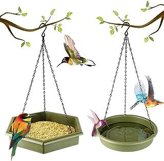 Hanging Bird Bath - DOPGL Hummingbird Feeder, Hanging Bird Feeder, 2 in 1 Platform Bird Bath & Feeder Tray, Bird Baths for...