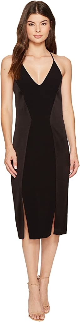 Halston Heritage - Sleeveless V-Neck Satin Slip Dress w/ Back Cut Outs