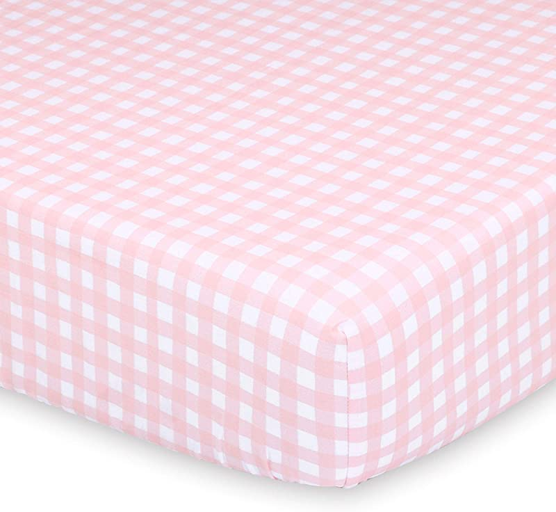 Pink And White Check Fitted Baby Girl Crib Sheet Farmhouse Collection By The Peanut Shell