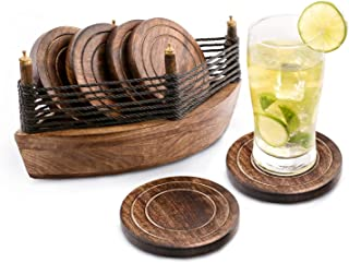 Divit Wooden Boat coasters for Drinks, Eco-friendly, Absorbent, Antique look handcrafted coasters, Set of 6