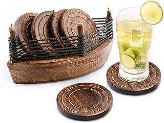Set de 6 posavasos para bebidas contenidos en un bote de madera, ecológicos, absorbentes y de aspecto antiguo hechos a mano. Divit Posavasos.