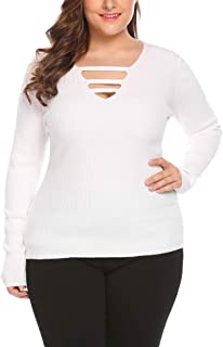 Vpicuo Women's Plus Size Long Sleeve Sweater V Neck Solid Slim Knit Pullover Tops
