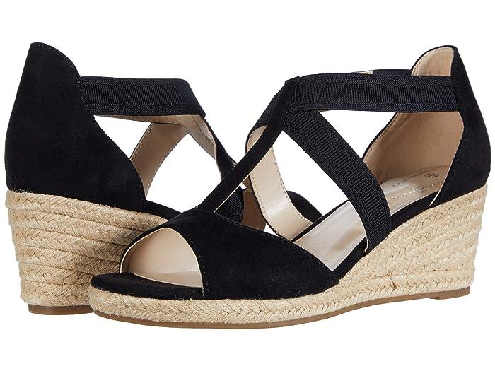 Vintage Sandals | Wedges, Espadrilles – 30s, 40s, 50s, 60s, 70s Bandolino Novana 2 BlackBlack Womens Shoes $47.99 AT vintagedancer.com