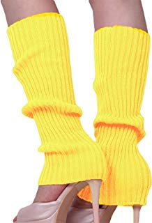 Song Qing Girls Teen 80s Dance Plain Ribbed Knit Crochet Leg Warmers