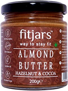 FITJARS Almond Butter with Hazelnut & Cocoa, All Natural Stone Ground Keto Diet Vegan Butters-200 Gm