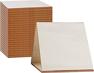 50 Pack Unfinished Wood Pieces, Umoonfine Square Wood Slices Blank 4X4 Inch for Crafts, Coasters, Scrabble Wall Tiles and Decors