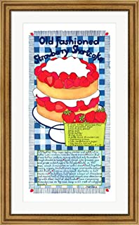Old Fashioned Strawberry Shortcake by Marlene Siff Framed Art Print Wall Picture, Wide Gold Frame, 25 x 40 inches