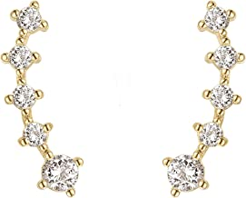 FREE Pearl Earrings With 14K Gold Plated Sterling Silver Post Crawler Earring Cuff Climber Earrings