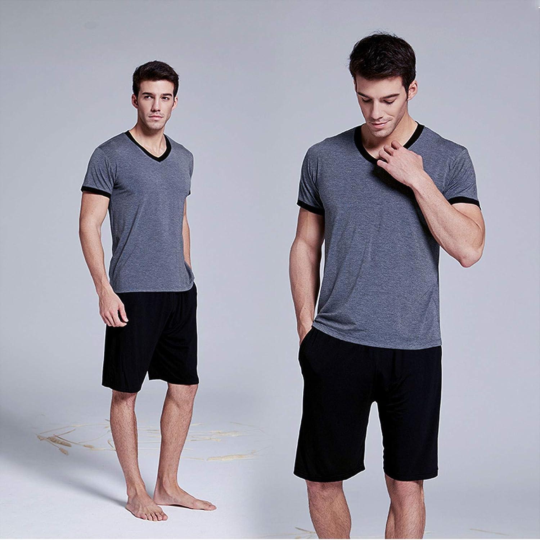 Men's Pyjamas Sets Summer Thin Ice Silk Short Pyjama for Men Nightwear Cotton Sleepwear T-Shirt Classic Pajamas Sets