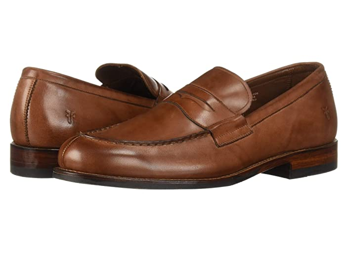 Rockabilly Men's Clothing Frye Murray Penny Cognac Washed Dip-Dye Leather Mens Slip on  Shoes $174.99 AT vintagedancer.com