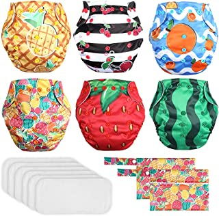 Lictin 6 Pack Baby Cloth Diapers, One Size Adjustable Washable Reusable Nappy for Baby Girls Boys(Happy Fruit Design)