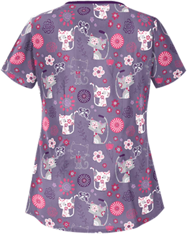 Women's Scrub_Tops, Women Irregular Short Sleeve Tops Working Uniform Cartoon Print Care Workers T-Shirt Tops with Pockets