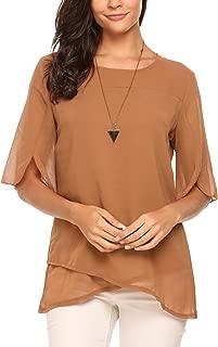 Women's Casual Chiffon Blouse Half Ruffle Sleeve Tops
