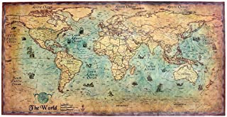 nattiness Vintage World Map Nautical Illustration Nautical Sea World Map Sailing Ship Map Home Wall Decor, Retro Old Art Paper Painting Poster Wall Art Picture