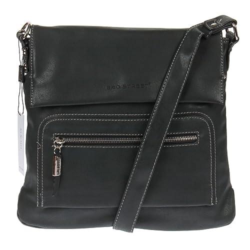 Bag Street - Bolso cruzados de cuero sintético para mujer Negro negro 3126f4fad089