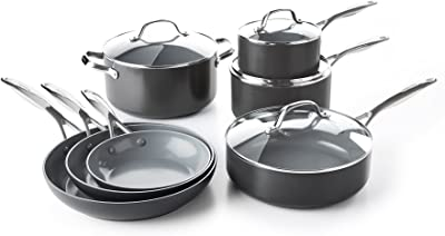 GreenPan CC000675-001 Valencia Pro Hard Anodized 100% Toxin-Free Healthy Ceramic Nonstick Metal Utensil Dishwasher/Oven Safe Cookware Set, 11pc, Grey
