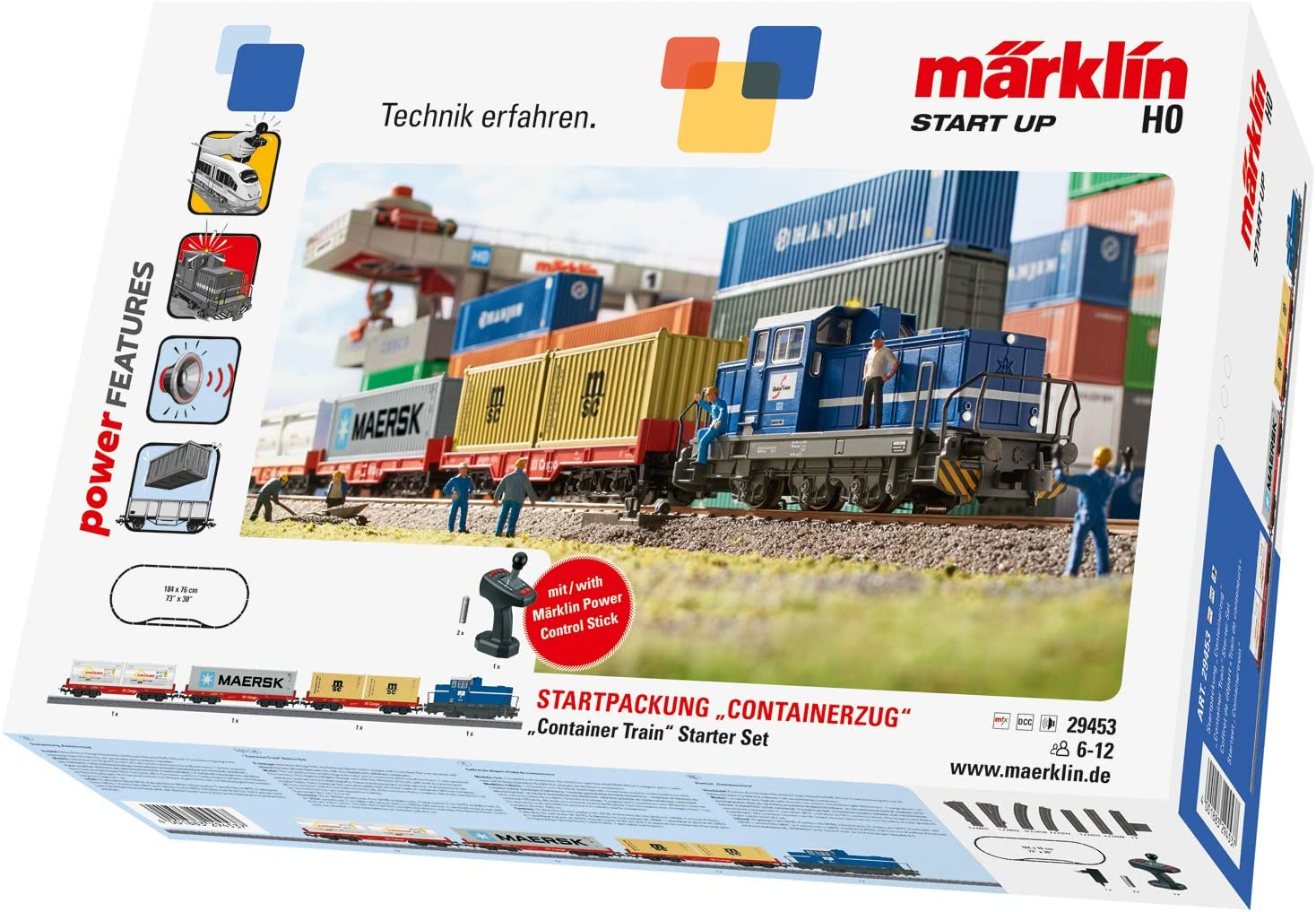 Märklin start up Start Up 29453 - Kit de iniciación para Tren de ferrocarril H0, Juego de iniciación con Tren, Carro y Carril, función de luz, a Partir de 6 años