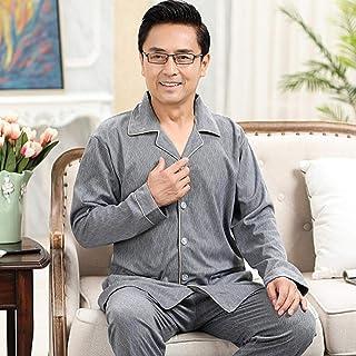 ZHOUJIE 2 Piezas/Juego de Pijamas 100% de algodón para Hombre, Pijamas Casuales Elegantes para Hombre, Pijamas Grandes y cómodos de otoño e invierno-835_L (60-70 kg)