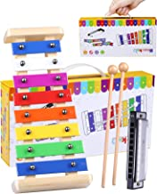 Smarkids Wooden Xylophone for Toddlers & Harmonica Set - Luxury Kids Musical Instruments Set Percussion Instruments Preschool Learning Toys with Premium Xylophone Mallets and Handheld Gift Box