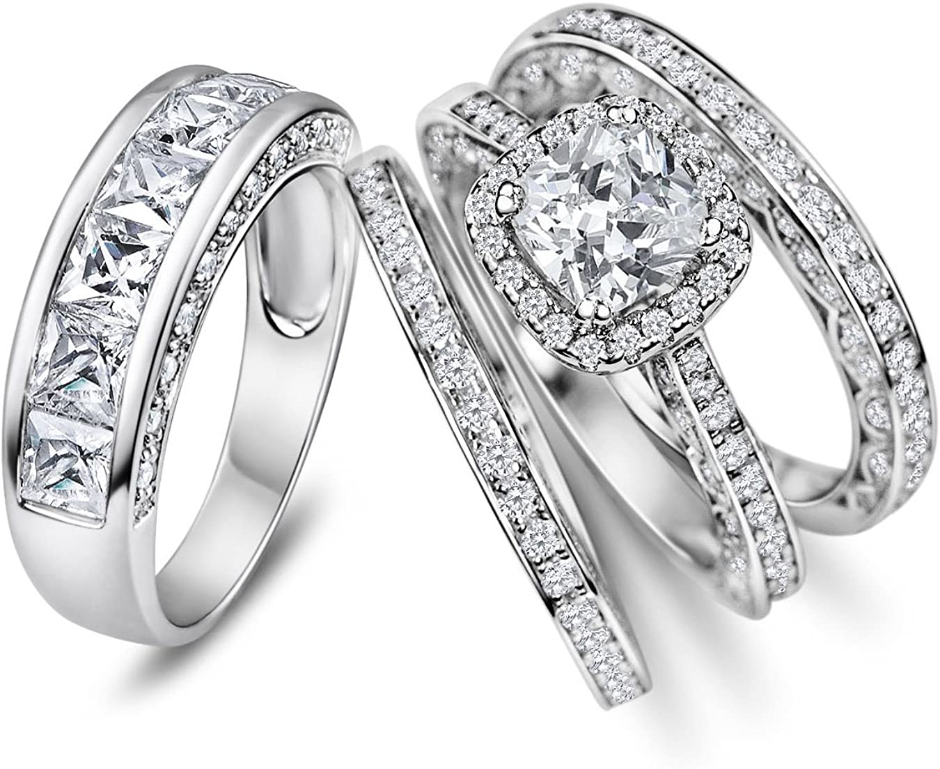 Sunee Jewelry And Gift His Hers Ranking TOP19 Matching Special sale item Cz Halo 4pc Cut Cushion