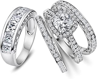 Sunee Jewelry And Gift His Hers 4pc Matching Halo Cushion Cut Cz Bridal Engagement Wedding Ring Set 925 Sterling Silver Size 5-13